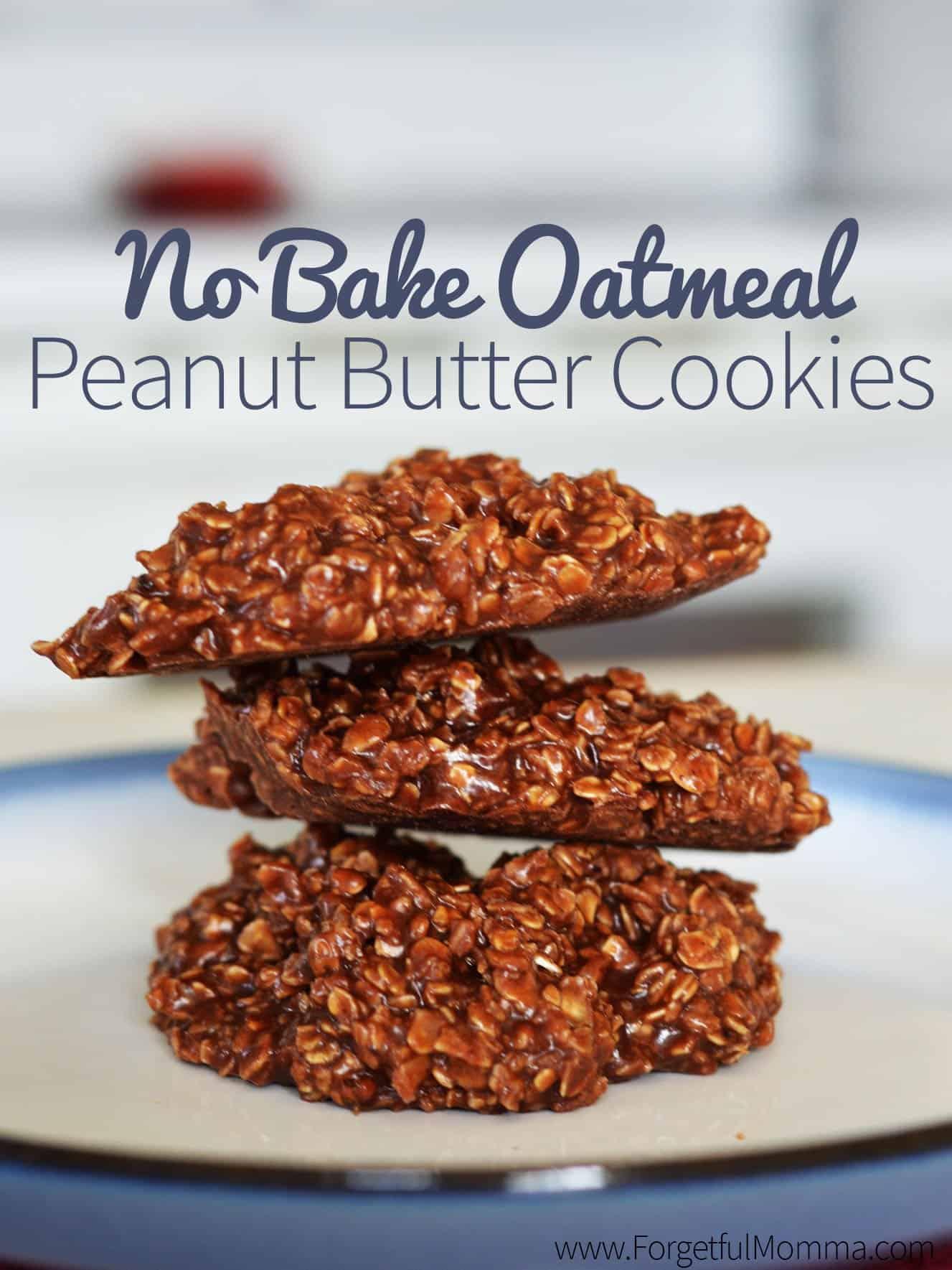 No Bake Oatmeal Peanut Butter Cookies