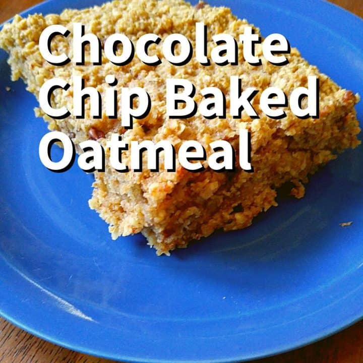 Chocolate Chip Baked Oatmeal on a blueplate