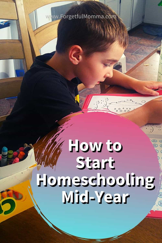 How to Start Homeschooling Mid-Year - boy doing school work