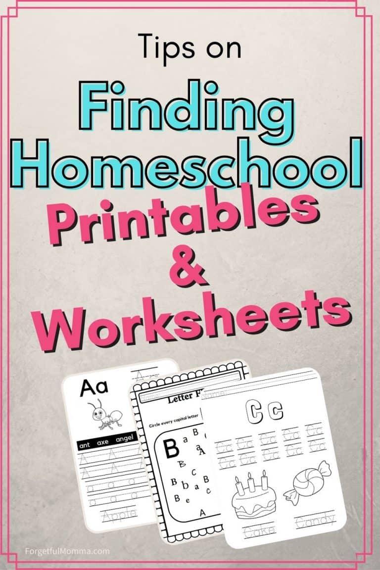 Finding Homeschool Printables/Worksheets