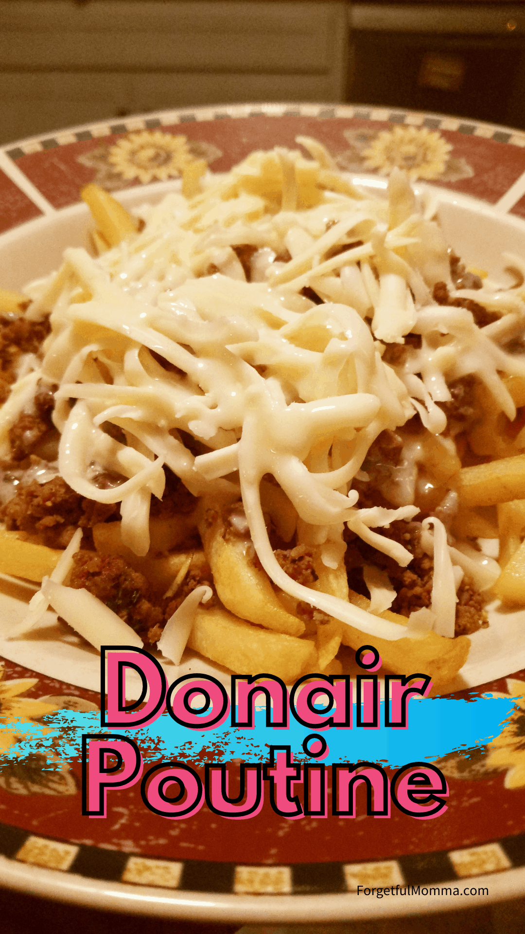 Donair poutine with text overlay