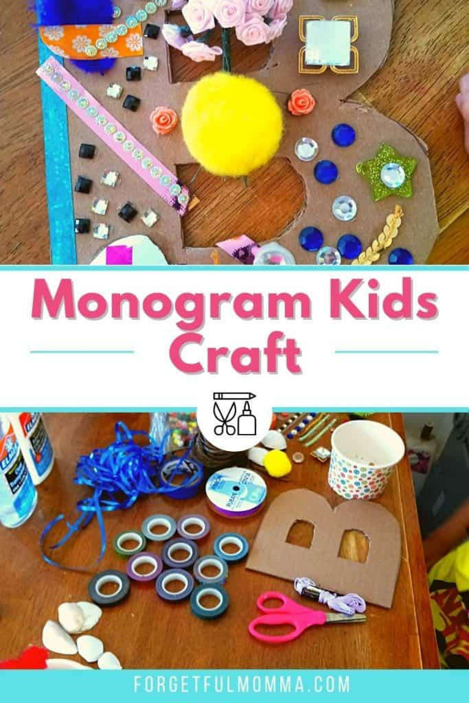 Monogram Kids Craft - craft supplies and finished product with text overlay