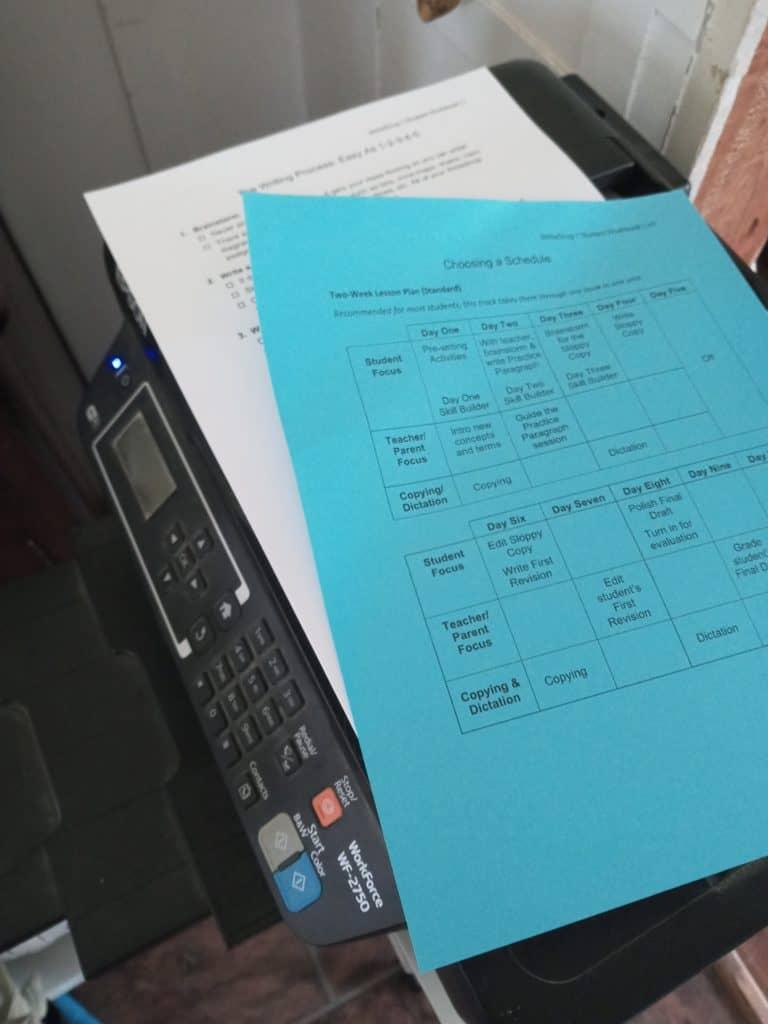 WriteShop1 Basic Set - schedule